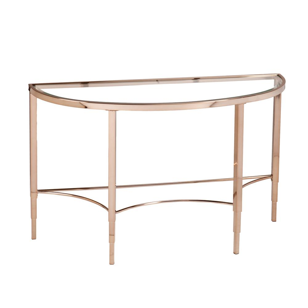 Southern Enterprises Bertha Metallic Gold Glass Top Console Table