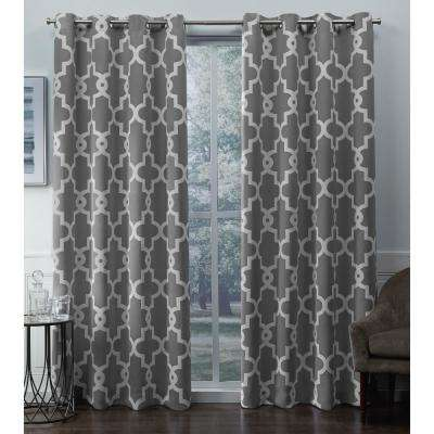Ironwork 52 in. W x 84 in. L Woven Blackout Grommet Top Curtain Panel in Silver (2 Panels)