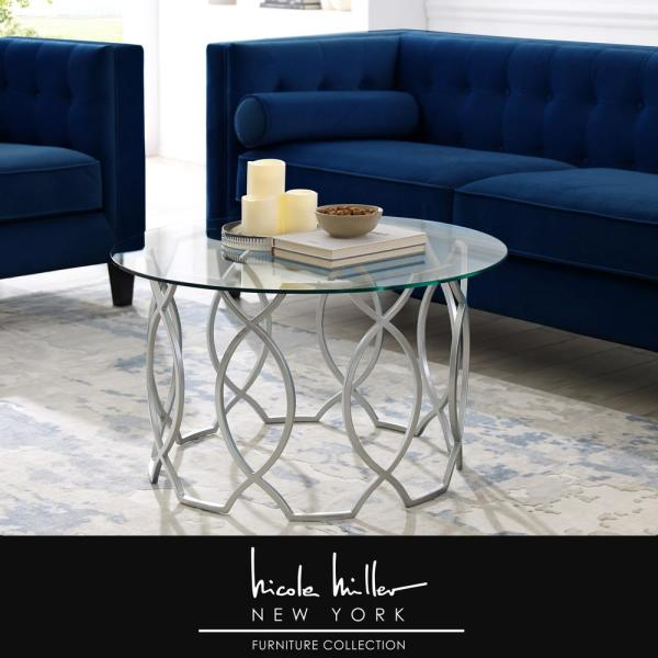 Nicole Miller Catalina Silver Coffee Table with Glass Top NCT126-25SR-HD