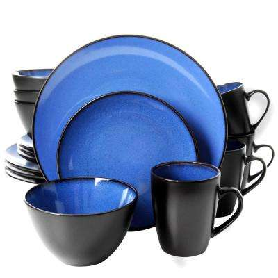 Soho Lounge 16-Piece Blue Dinnerware Set