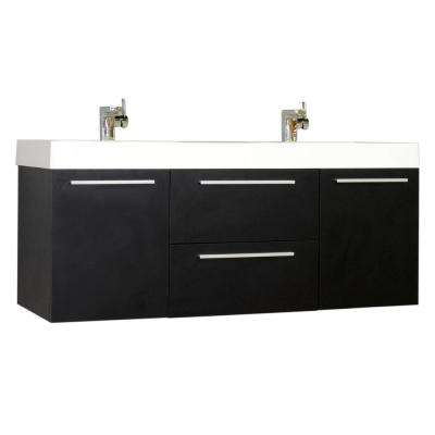 The Modern 54.25 in. W x 18.75 in. D Bath Vanity in Black with Acrylic Vanity Top in White with White Basin