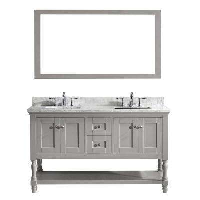 Julianna 60 in. W Bath Vanity in Gray with Marble Vanity Top in White with Square Basin and Mirror