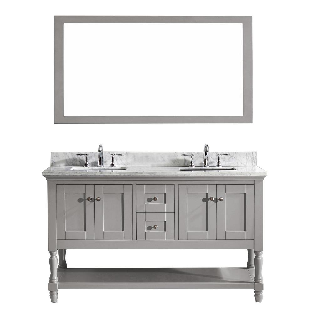 Virtu Usa Julianna 60 In W X 36 In H Vanity With Marble Vanity Top In Carrara White With White
