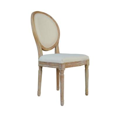 Beige Upholstered Dining Chair French Retro Oval Back Side Chair (Set of 2)