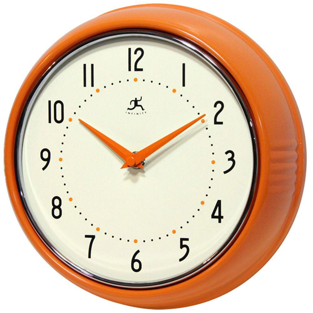 Infinity Instruments 9-1/2 in. Orange Retro Round Metal Wall Clock