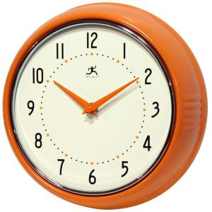 Infinity Instruments 9-1/2 inch Orange Retro Round Metal Wall Clock by Infinity Instruments