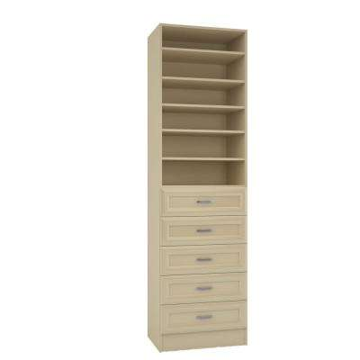 15 in. D x 24 in. W x 84 in. H Rialto Almond Melamine with 6-Shelves and 5-Drawers Closet System Kit