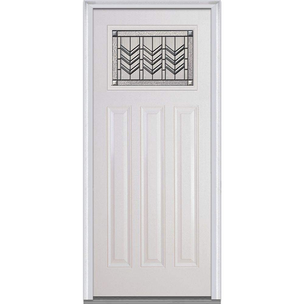 Mmi door 36 in x 80 in prairie bevel right hand for Craftsman entry doors fiberglass