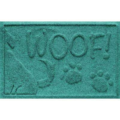 Aquamarine 18 in. x 28 in. Wag the Dog Polypropylene Pet Mat