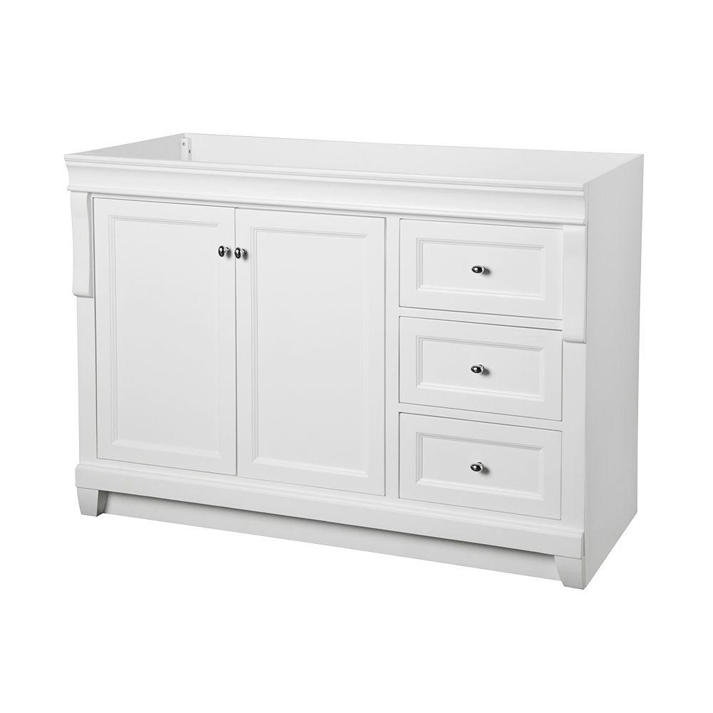 Foremost naples 48 in w bath vanity cabinet only in white for White bathroom chest