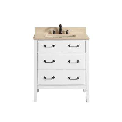Delano 31 in. W x 22 in. D x 35 in. H Vanity in White with Marble Vanity Top in Galala Beige with White Basin