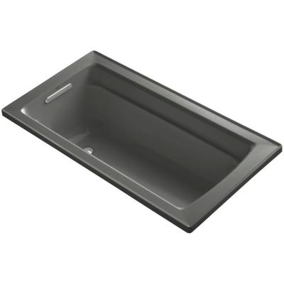 Archer 5 ft. Rectangle Reversible Drain Acrylic Soaking Tub in Thunder Grey