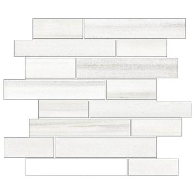 Milano Lasa White 12 in. x 14 in. x 9mm Porcelain Random Strip Mesh-Mounted Mosaic Tile (10 sq. ft. / case)