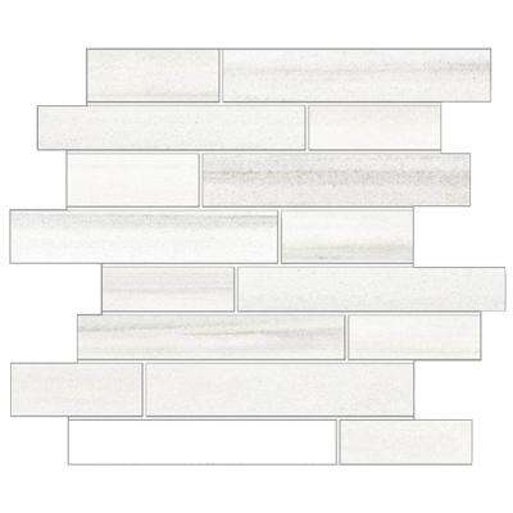 Milano Lasa White 12 in. x 14 in. x 9mm Porcelain Random Strip Mesh-Mounted Mosaic Tile (10 sq. ft. / case)