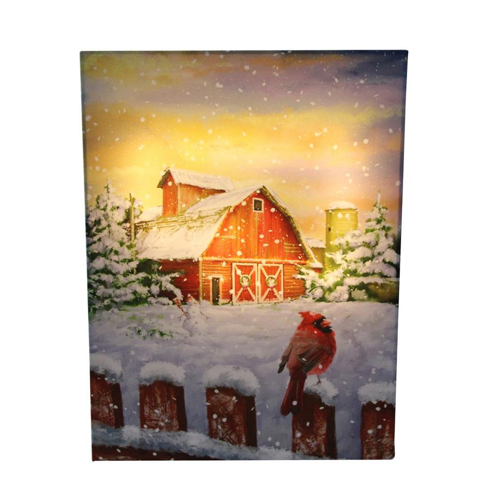 15.75 in. LED Back Lit Snowy Sunset Barn Scene Christmas Wall Art