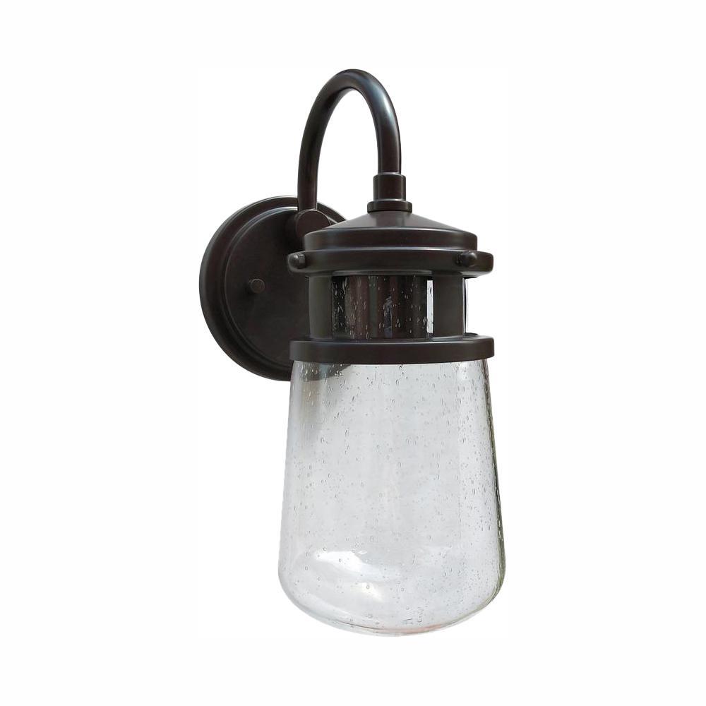 1-Light Antique Bronze Outdoor Wall Lantern Sconce