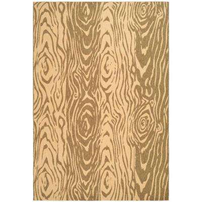 Layered Faux Bois Dark Beige/Beige 8 ft. x 11 ft. Area Rug