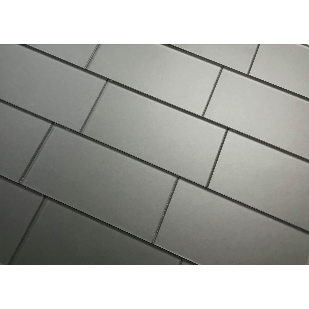 Jet Black 2 x 4 Sample Swatch of Made to Order Glass Subway and Mosaic Tiles
