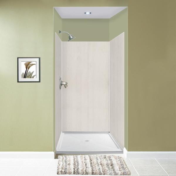Expressions 48 in. x 48 in. x 72 in. 3-Piece Easy Up Adhesive Alcove Shower Wall Surround in Bleached Oak