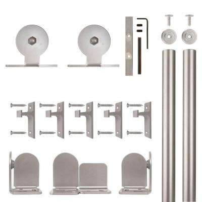 Top Mount Satin Nickel Rolling Door Hardware Kit for 3/4 in. to 1-1/2 in. Door