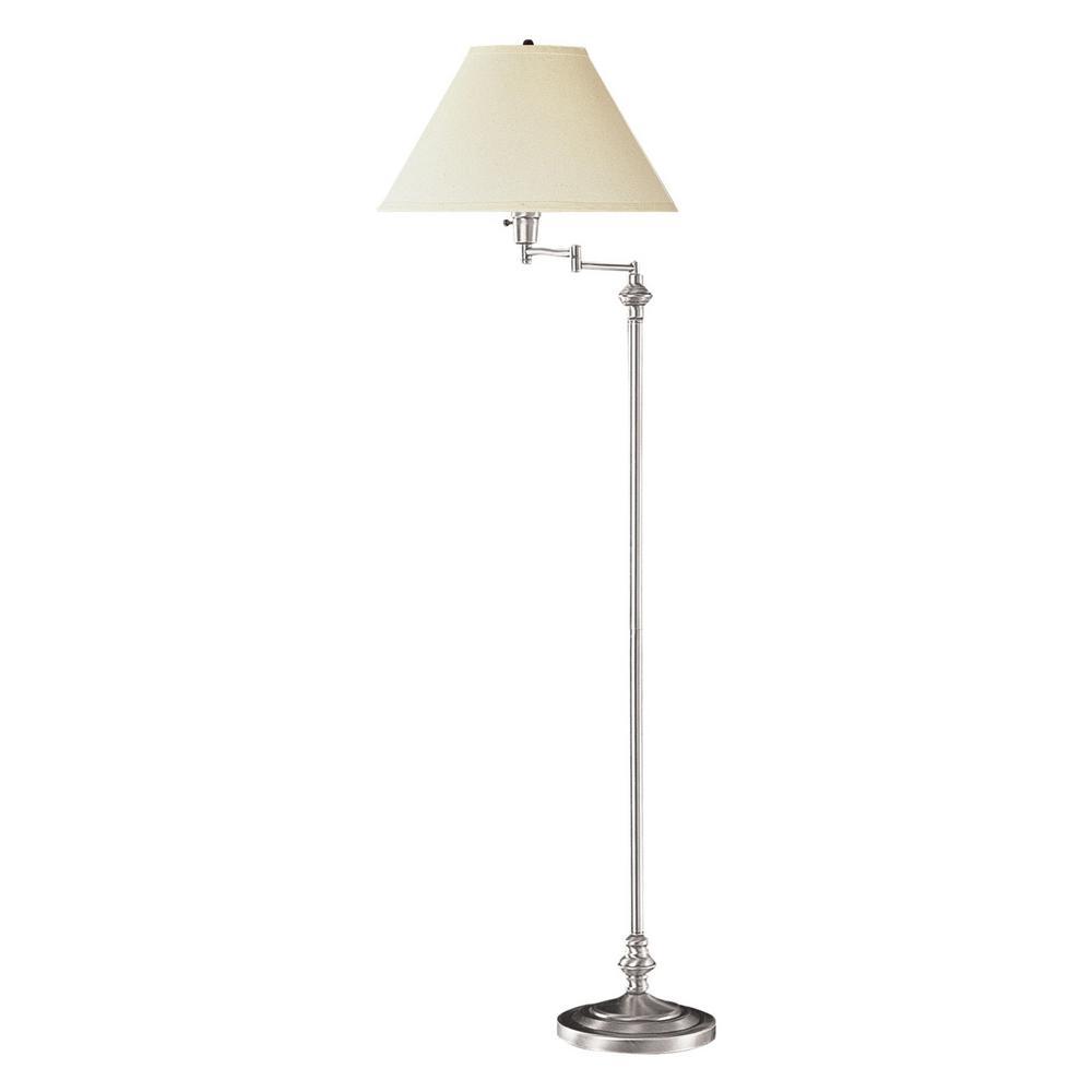 Cal Lighting 59 In Brushed Steel Swing Arm Metal Floor Lamp