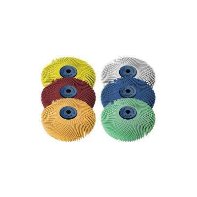 Sunburst 3 in. 6-Ply Radial Discs 1/4 in. Arbor Assortment Thermoplastic Cleaning and Polishing Tool (6-Piece)