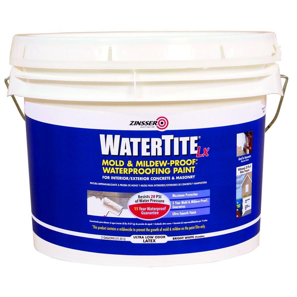 Zinsser 3 gal. WaterTite LX Low VOC Mold and Mildew-Proof White Water Based Waterproofing Paint