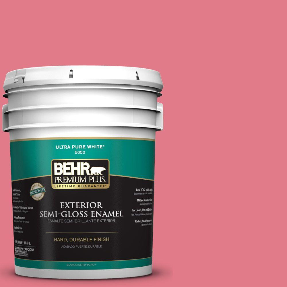 BEHR Premium Plus 5-gal. #P150-4 Hot Gossip Semi-Gloss Enamel Exterior Paint