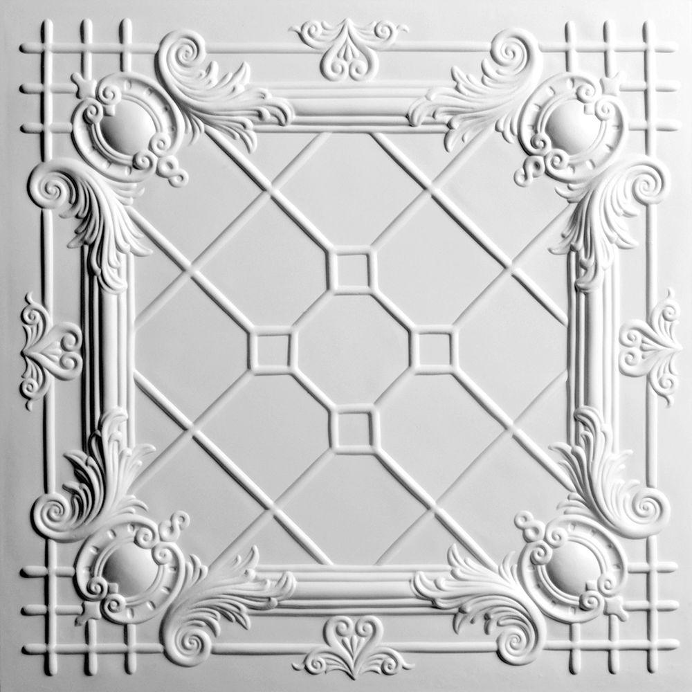 Ceilume Bentley White 2 ft. x 2 ft. Lay-in or Glue-up Ceiling Panel (Case of 6)