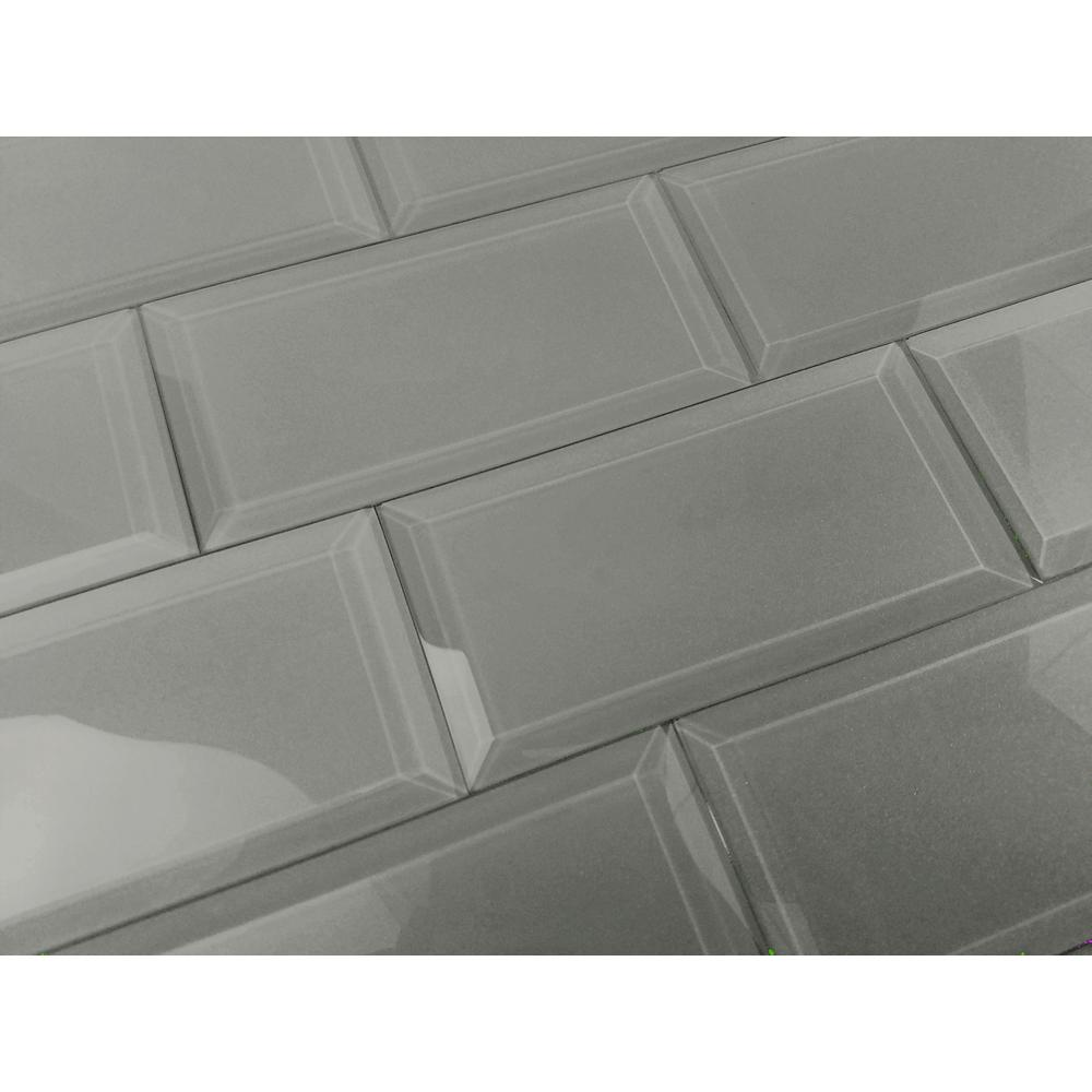 Frosted Elegance Josephine Gray 3 in. x 6 in. Glass Peel