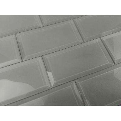 3 in. x 6 in. Frosted Elegance Josephine Gray Glass Peel and Stick Wall Tile Sample