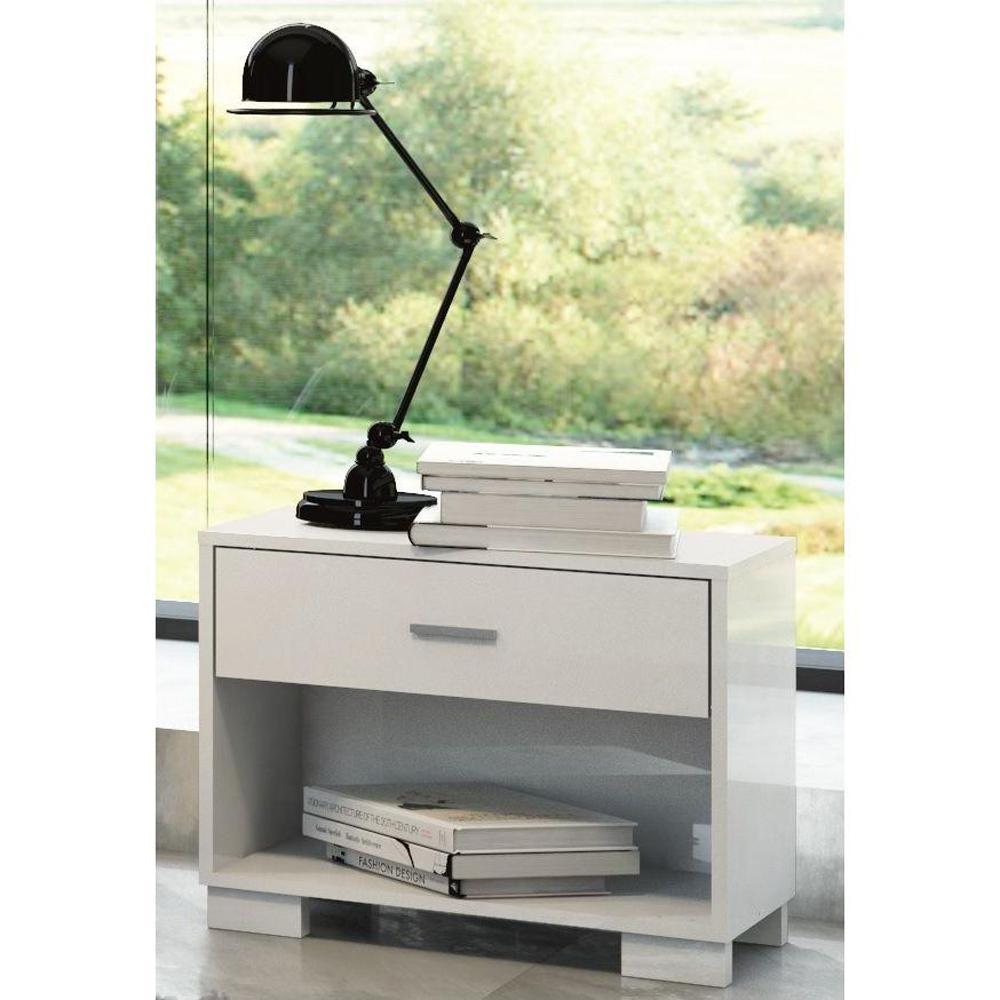 Astor 1-Drawer White Gloss Nightstand