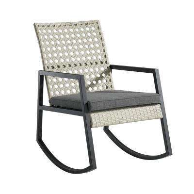 Light Grey Rattan Modern Patio Rocking Chair with Grey Cushion