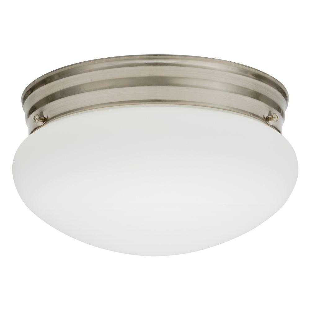 Lithonia Lighting Essentials 1-Light Nickel Fluorescent Ceiling Light