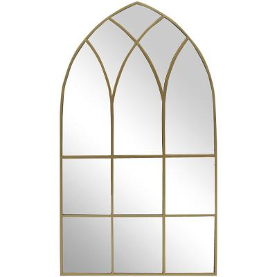 Large Arched Gold Windowpane Classic Accent Mirror (43 in. H x 24 in. W)