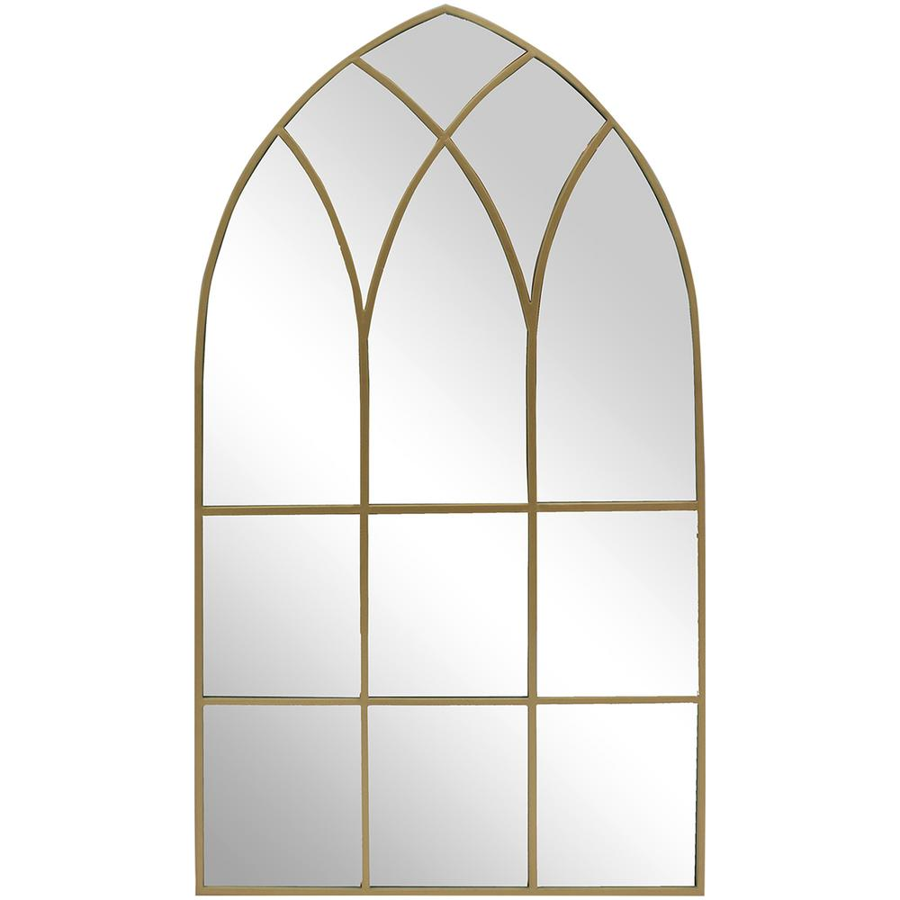 43 in. H x 24 in. W StyleWell Arched Windowpane Framed Gold Accent Mirror