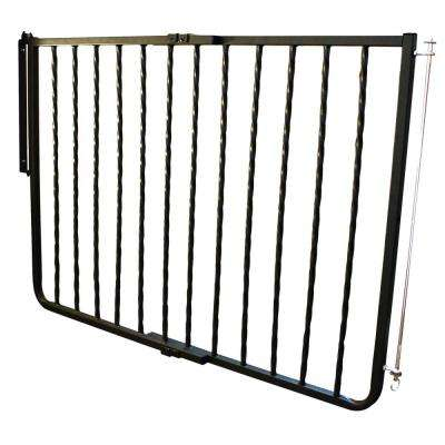 30 in. H x 27 in. to 42.5 in. W x 2 in. D Wrought Iron Decor Gate Black
