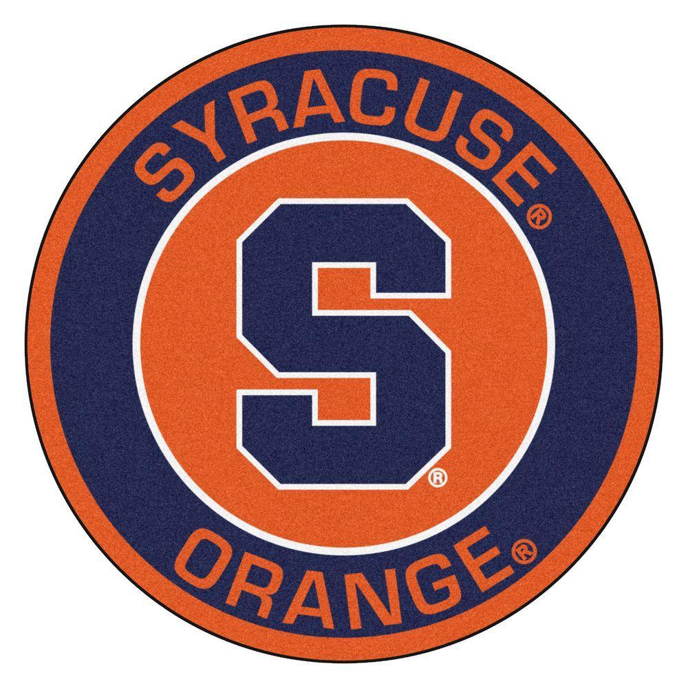 NCAA Syracuse University Navy 2 ft. x 2 ft. Round Area Rug