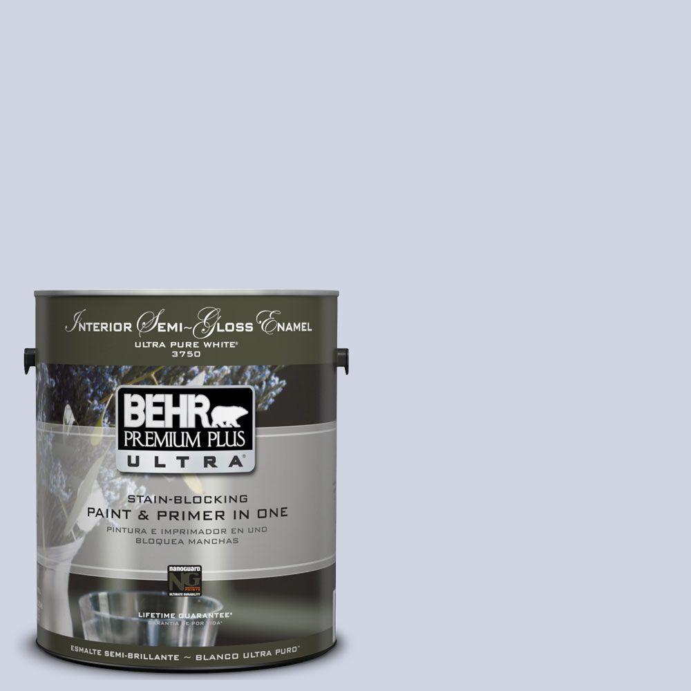 BEHR Premium Plus Ultra 1-gal. #UL240-11 Hint Of Violet Interior Semi-Gloss Enamel Paint