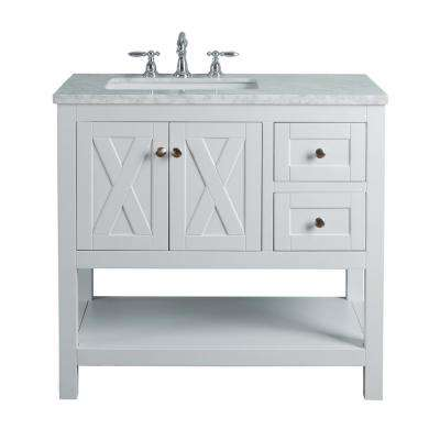 Anabelle 36 in. White Single Sink Bathroom Vanity with Marble Vanity Top and White Basin