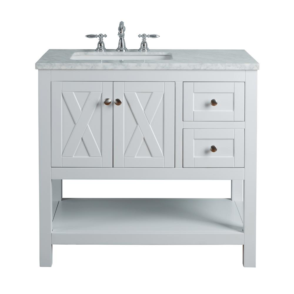 White Single Sink Bathroom Vanity With Marble Top And