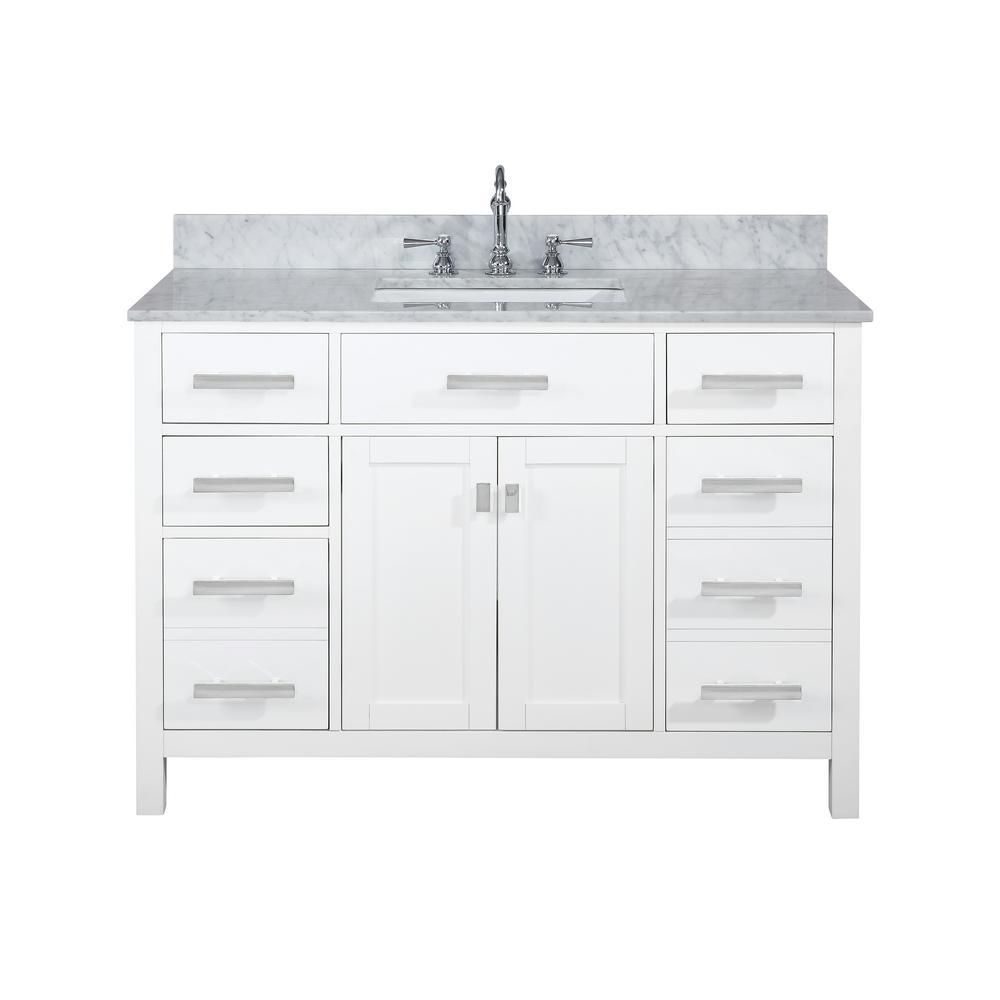Valentino 48 in. W x 22 in. D Bath Vanity in White with Carrara Marble Vanity Top in White with White Basin