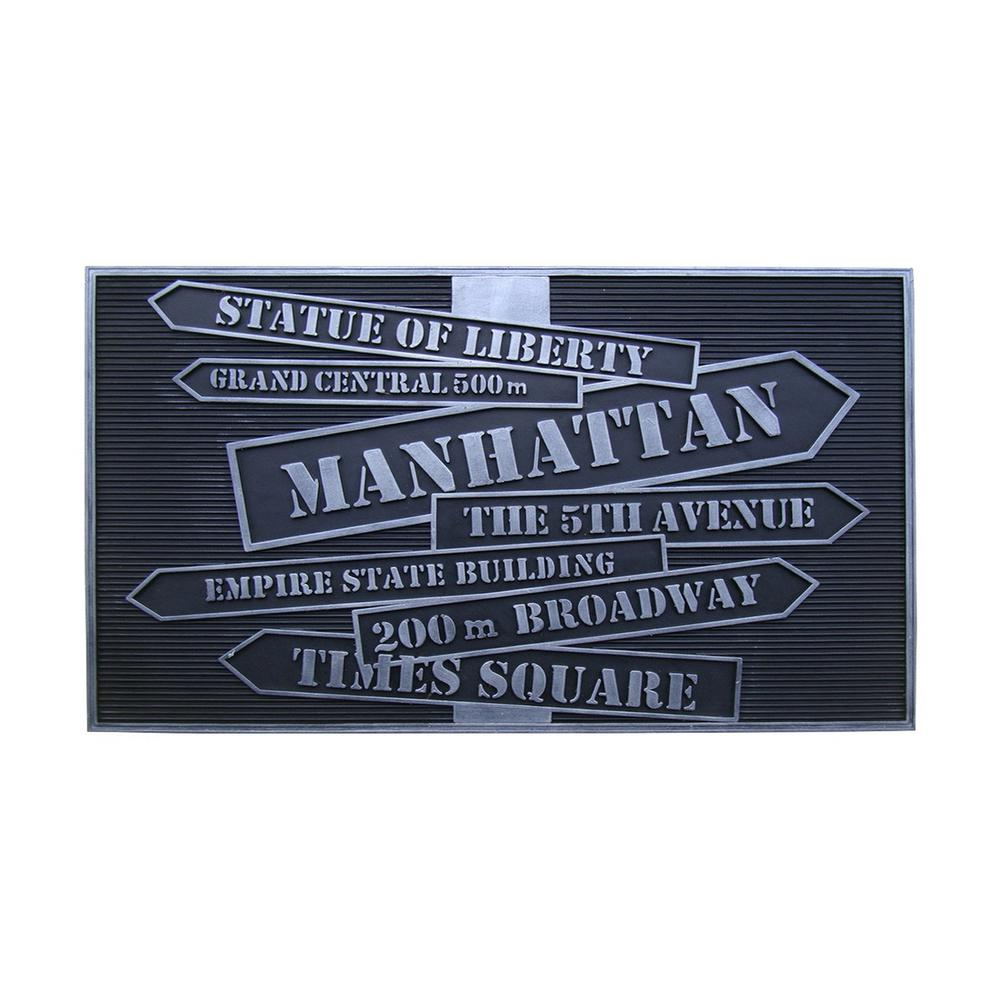 A1HC First Impression 'New York' Design 18 in. x 30 in. Rubber Hand Finished Door Mat