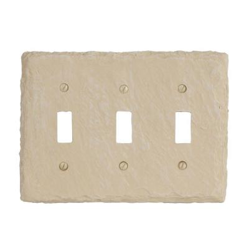 Faux Slate 3 Gang Toggle Resin Wall Plate - Almond