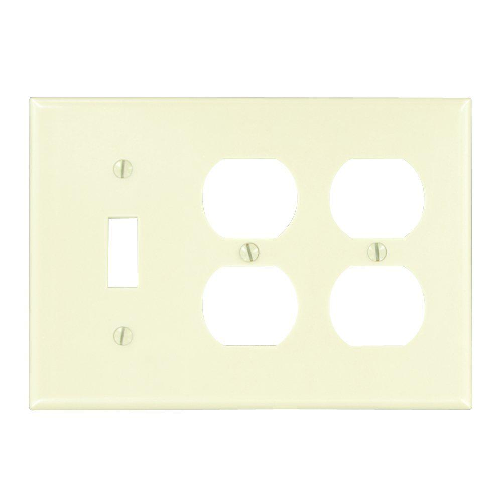 leviton 3gang 1toggles 2duplex receptacles standard size plastic combination wall plate ivory86047 the home depot