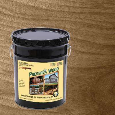 5 gal. Oil Based Natural Transparent Exterior Wood Stain and Sealer for Decks, Fences and Wood Sided Homes