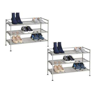 38.2 in. H x 26.5 in. W 18-Pair Satin Pewter Iron Mesh Stackable Shoe Rack (2-Pack)