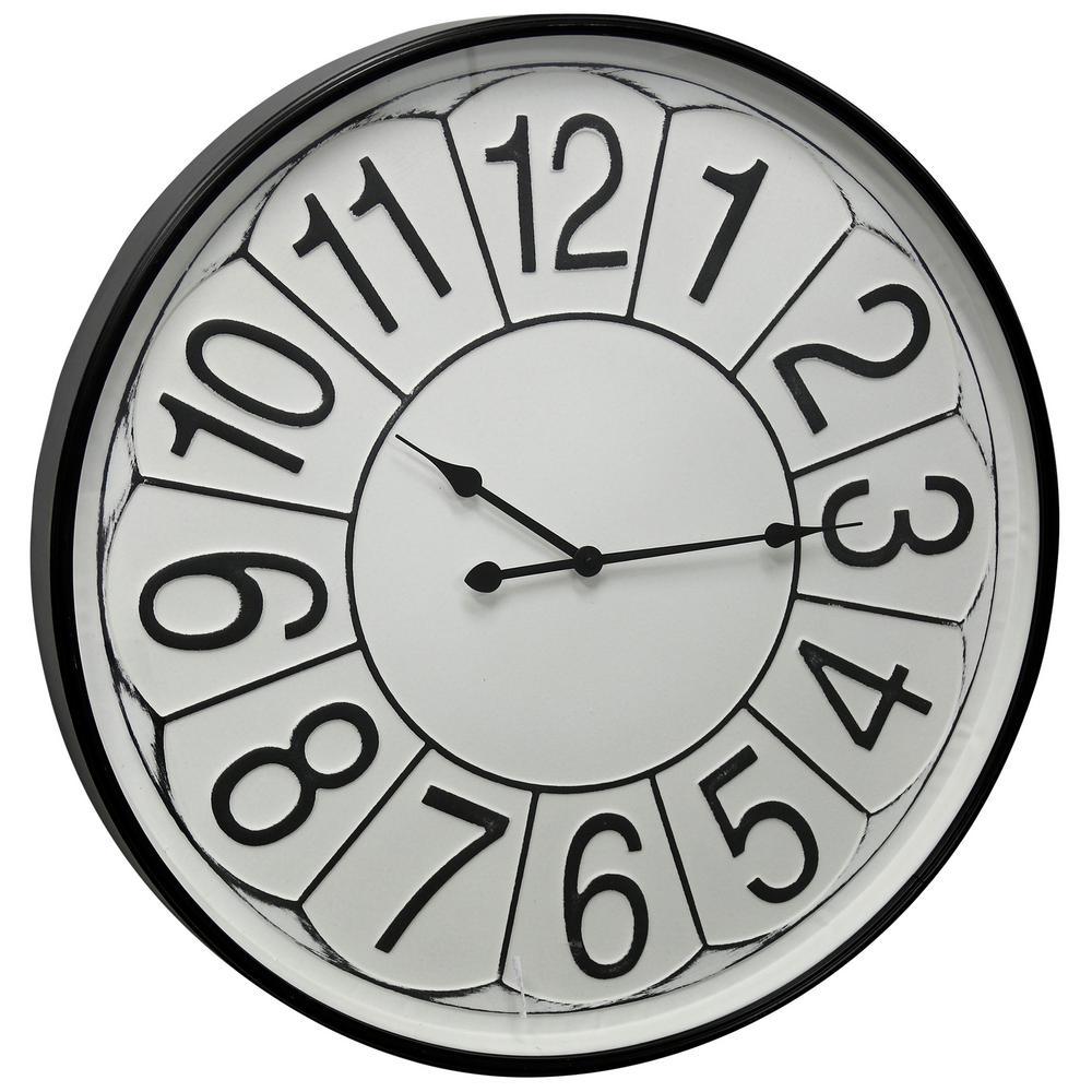 Farmhouse White Wash, Black, Clear Analog Clock