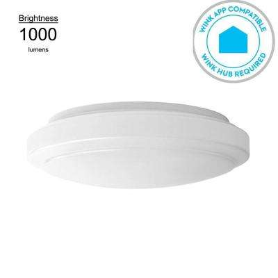 Wink Compatible 12 in. White LED Smart Color Tunable (2700K Warm White to 5000K Daylight) Flushmount Ceiling Light