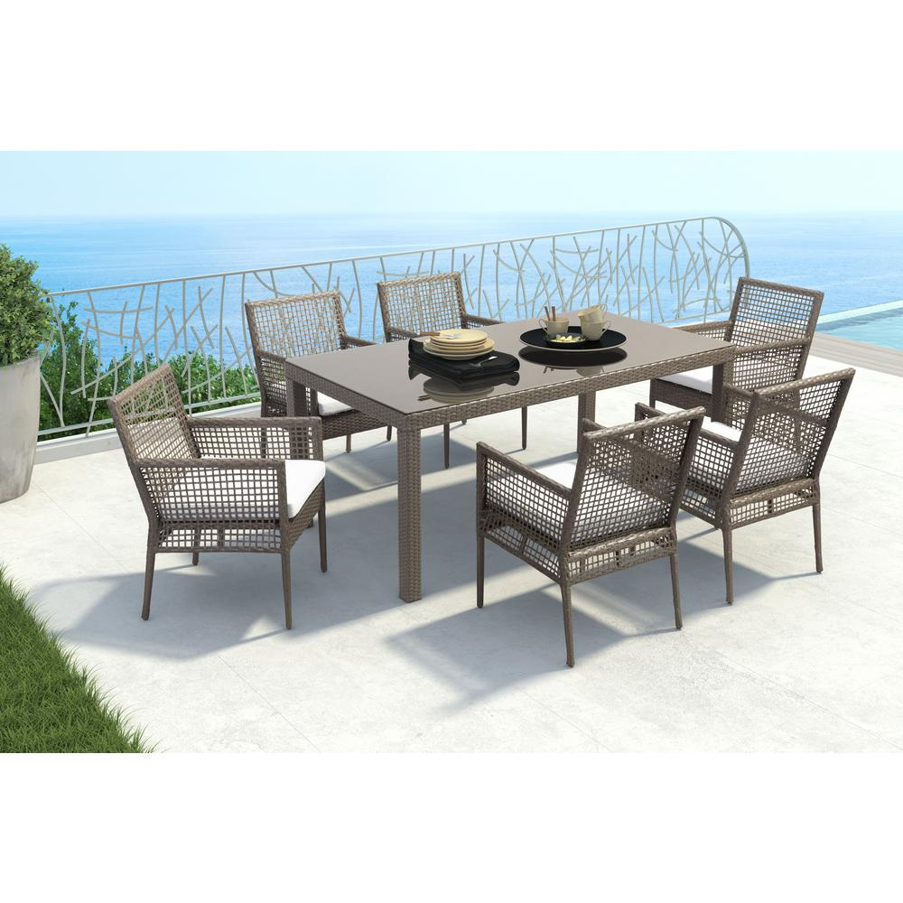 Wondrous Zuo Coronado Cocoa Wicker Outdoor Patio Dining Chair With Light Gray Cushion Set Of 2 Caraccident5 Cool Chair Designs And Ideas Caraccident5Info